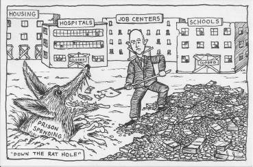 Budget cartoon 0114 Gov. Brown said 2013-'We can't pour more and more dollars down the rat hole of incarceration' by Noah Miska of Sin Barras