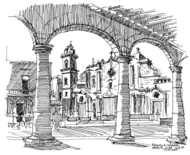 Richmond Regla Cuba Tour sketch of Plaza de la Catedral, Havana 1213 by Tom Butt