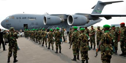 Rwandan UN troops board USAF C-17 cargo carrier to CAR 0114