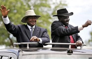 Ugandan President Yoweri Museveni, South Sudanese President Salva Kiir
