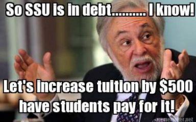 'So SSU is in debt' $500 fee graphic