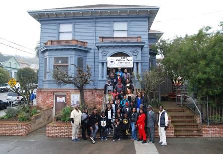 College Prep bldg, students, staff on steps