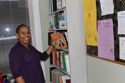 College Prep program coordinator Tachelle Herron-Lane in middle school study-tutoring rooms 3rd floor by Laura Sava