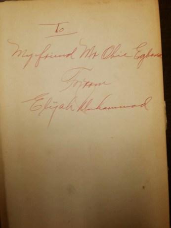 Elijah Muhammad autographs GÇÿMessage to the BlackmanGÇÖ to Obi Egbuna Sr