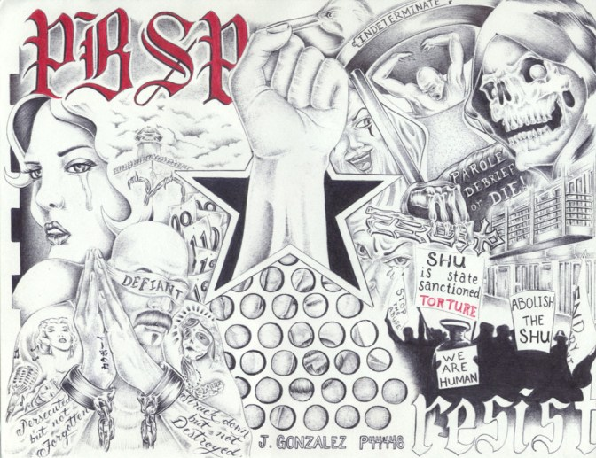 'PBSP Abolish the SHU' art by Juan Gonzalez, web