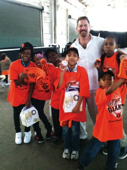 Athletic Director Jake Babick, kids of Willie Mays Boys & Girls Club