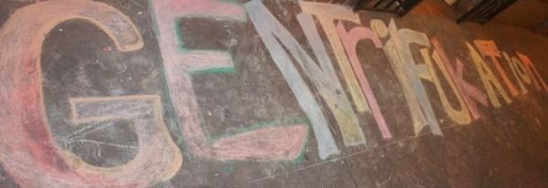 'Gentrifukation' chalked on sidewalk by PNN