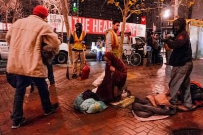 SF DPW prepares to hose homeless Market St sidewalk 0214 by Mark Richards, Al Jazeera America