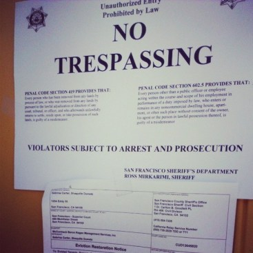 Sabrina Carter's eviction 'No Trespassing' sign on door 040814 by PNN