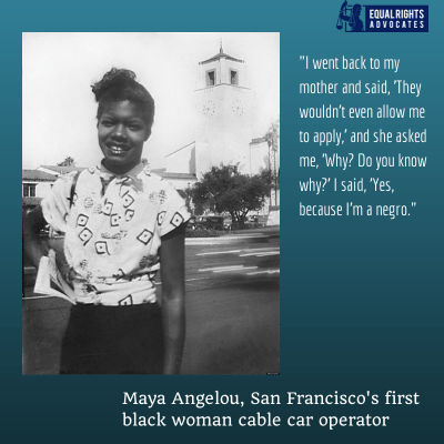 'Maya Angelou, San Francisco's first Black woman cable car operator' graphic by ERA
