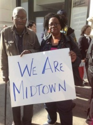 "Since the Christmas Eve calamity, Midtown residents have organized the ""We Are Midtown"" campaign seeking community support. – Photo: Mike Koozmin, SF Weekly"