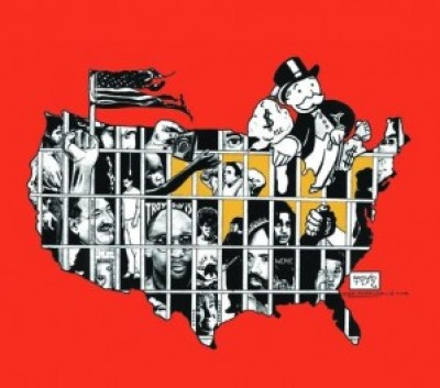 """Kevin """"Rashid"""" Johnson's art is featured in the 2014 Syracuse Cultural Workers Peace Calendar, and this image graces the month of May. He created it to mark National Occupy Day in Support of Prisoners on Feb. 20, 2012."""