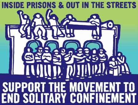 'Inside prisons & out in the streets, support the movement to end solitary confinement' poster