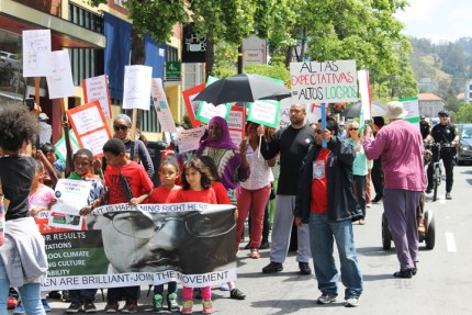 School equity supporters march down University Avenue toward Berkeley Unified School District headquarters at 2020 Bonar St. – Photo: Laura Savage