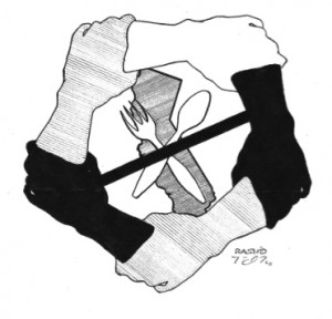 "This drawing, the icon for all three California hunger strikes recognized around the world, was contributed by the renowned prison artist Kevin ""Rashid"" Johnson, then held in solitary confinement in Virginia, now in Texas. – Art: Kevin ""Rashid"" Johnson, 1859887, Clements Unit, 9601 Spur 591, Amarillo TX 79107"