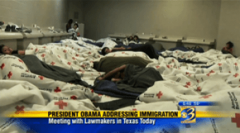 Child refugees are packed into a detention center in Texas.