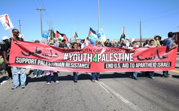 Youth led thousands Saturday on the march to the Port of Oakland to stop an Israeli cargo ship from unloading. – Photo: Malaika Kambon
