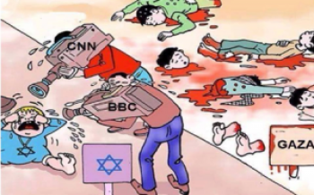 Media non-coverage of Israel's attacks – Cartoon: NatBlackEd:7756