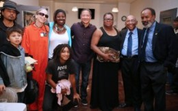 "Gathered at the reception are Tony Robles, Tiburcio, son of Lisa ""Tiny"" Gray-Garcia, Joyous deAsis and Queenandi X Sheba of Poor News Network, which won an award at the first Black Media Appreciation Night, San Francisco Public Defender Jeff Adachi, Sun Reporter Publisher Amelia Ashley-Ward, Bay View Publisher Dr. Willie Ratcliff and KPOO News Director Harrison Chastang. – Photo: Malaika Kambon"