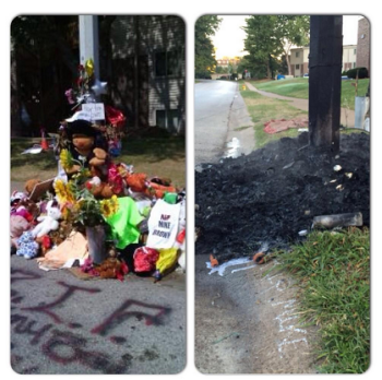 The world famous memorial for Mike Brown, before and after the Sept. 23 fire. This memorial is at the curb; another remains in the middle of the street, where Mike was murdered by Darren Wilson.