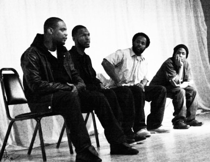 M1, Malcolm Shabazz, Samm Styles and M.O.I. JR Valrey were the panelists at the Human Rights Film Festival in 2011 in San Francisco. – Photo: Block Report