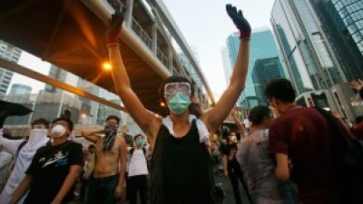 Student protesters occupy streets surrounding government headquarters in Hong Kong Sept. 28. – Photo: Wally Santana, AP