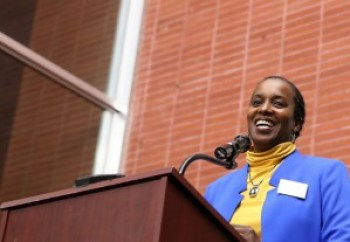 Richmond Vice Mayor Jovanka Beckles speaks to a standing-room-only crowd at the Richmond Auditorium. – Photo: Malaika Kambon