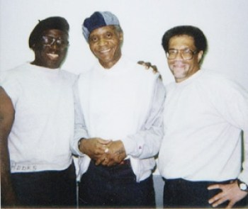 """This is the Angola 3 – Herman Wallace, Robert King and Albert Woodfox – when they were together in Angola Prison, the 18,000-acre former plantation still worked by the """"slaves"""" imprisoned there. The warden kept them in solitary because of his fear of what he calls """"Black Pantherism."""""""