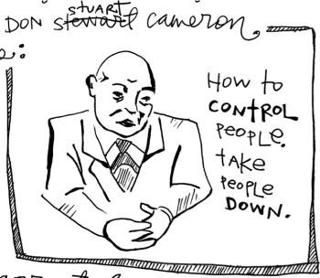 Nomy's impression of Don Cameron. – Art: Nomy Lamm