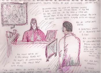 Lisa's impression of Asa's mother's testimony. – Art: Lisa Ganser