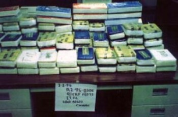 Evidence photo of 100 kilos of cocaine that the Drug Enforcement Agency and Oscar Danilo Blandon tried to sell to Freeway Ricky Ross in his arrest. – Photo: DEA