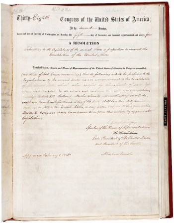 This is the 13th Amendment as originally handwritten on Feb. 1, 1865.