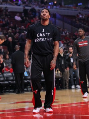 "Derrick Rose wore an ""I can't breathe"" shirt before the Chicago Bulls took on the Golden State Warriors on Saturday, Dec. 6. – Photo: Dennis Wierzbicki, USA TODAY Sports"