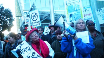 """""""Flush TPP"""" was the cry in San Francisco on Jan. 31, 2014. Major protests will resume this week. – Photo: Carol Harvey"""