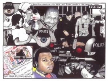 """Police Fascism"" – Art: Kevin ""Rashid"" Johnson, 1859887, Clements Unit, 9601 Spur 591, Amarillo TX 79107."
