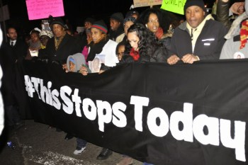 Protesters in New York City Dec. 4 demand change after the refusal to indict the police officer who murdered Eric Garner with a chokehold. – Photo: Ellen Davidson