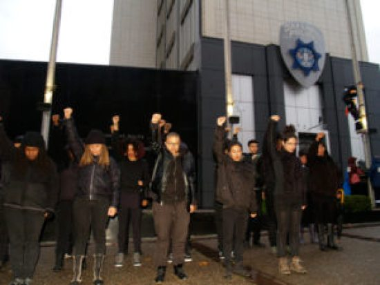 Black protest organizers give a Black Power salute as the climber ascends the flagpole. – Photo: BaySolidarity