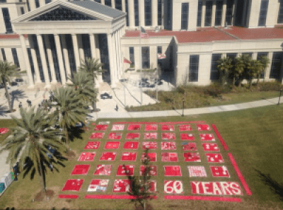 The 350 squares of The Monument Quilt blanketed the courthouse lawn on Jan. 27, when Marissa was released. – Photo: Free Marissa Now