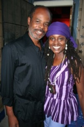 Renowned Jazz show host Greg Bridges poses after the show with his guest, Kujichagulia, for this 2007 picture. – Photo: JR Valrey, Block Report