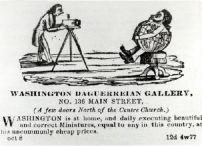 This ad for Augustus Washington's daguerreotypes was published in the Hartford Daily Courant on Oct. 8, 1852. It shows the world having its picture taken at Washington's studio. – Photo courtesy Connecticut Historical Society