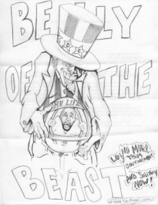"""""""Belly of the Beast"""" – Art: Roger """"Rab"""" Moore, G-02296, HDSP Z-168, P.O. Box 3030, Susanville CA 96127"""