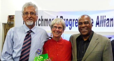 Marilyn Langlois, here with Eduardo Martinez and Pierre Labossiere of the Haiti Action Committee at a Richmond Progressive Alliance event April 22, 2012, has long been a major advocate for Haiti, HAC and the Haiti Emergency Relief Fund, along with her advocacy on local Richmond issues.