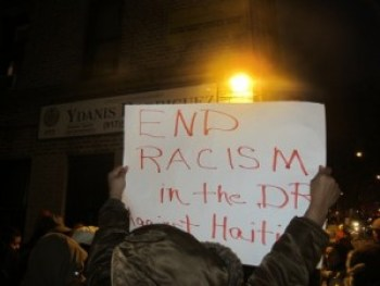 "The Feb. 12 protest featured signs saying ""End Racism in the DR,"" ""Black Lives Matter"" and ""Justice for Tulile."""
