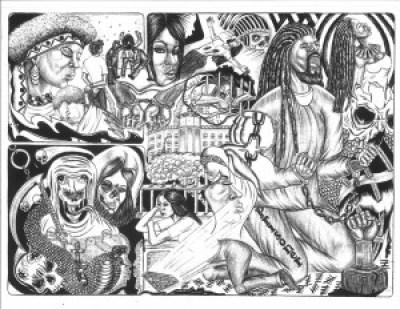 """""""Help Me"""" – Art: Guss Lumumba Edwards, B-89208, CSP-Sac C4-104, P.O. Box 290066, Represa CA 95671"""