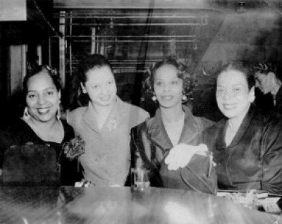 Queen of Fillmore Leola King is second from left at her world famous Blue Mirror in this historic photo. Almost all the photos of her and her clubs were lost or destroyed by Redevelopment when they repeatedly seized her clubs and everything in them.