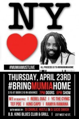 In New York City, the stars are coming out for Mumia on the eve of his 61st birthday.