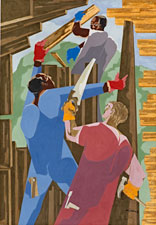 """Builders No. 3"" by Jacob Lawrence is part of the ""Promised Land"" exhibit at the Cantor Arts Center, Stanford University."