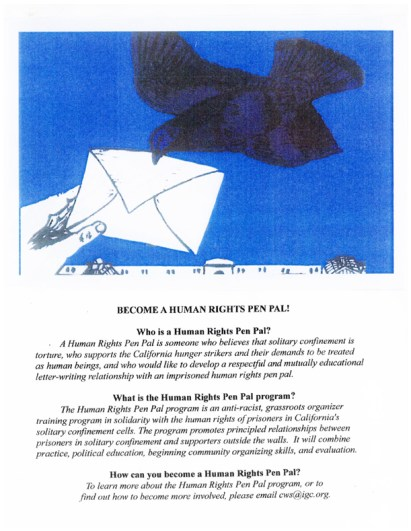 Human Rights Pen Pal Program flier, web