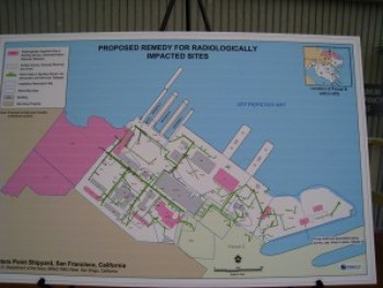 The Shipyard, undergoing over $700 million in cleanup of radiological and toxic contamination since the early 1990s, is still extensively radiologically impacted in areas slated for residential and commercial development, as shown in this 2008 Navy graphic.