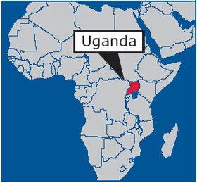 Map of Africa highlighting Uganda